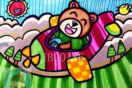 小熊坐飞机简笔画怎么画