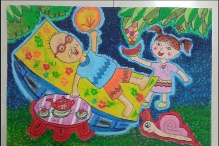 我和我的爷爷,重阳节主题儿童画作品欣赏