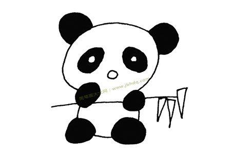 呆呆的大熊猫简笔画图片