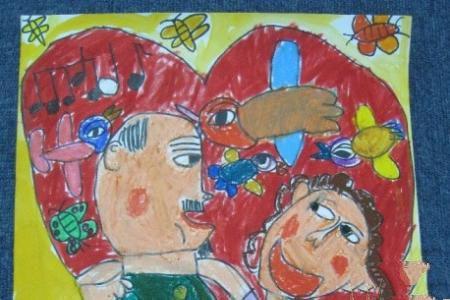 重阳节尊老儿童画-和爷爷一起郊游