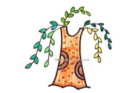 既简单又漂亮的柳树简笔画