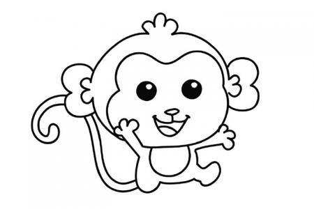 一只萌萌的小猴子怎么画