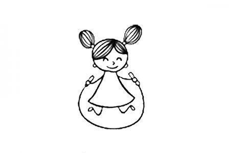 小女孩跳绳简笔画图片