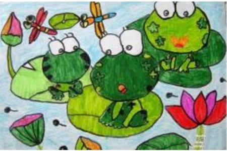 儿童画小青蛙爱荷花