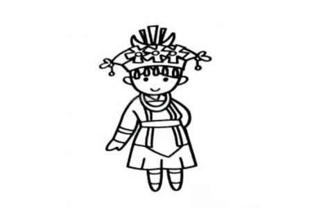 侗族女孩简笔画图片