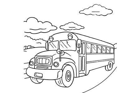 6张校车简笔画图片
