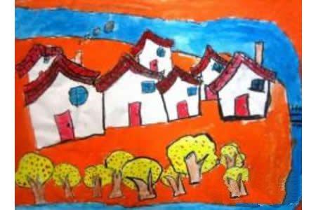 秋天景色儿童画-秋天的小屋