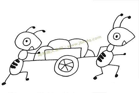 两只蚂蚁在搬运