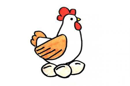 母鸡下蛋简笔画图片
