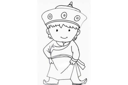 蒙古族男孩简笔画