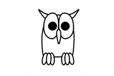 幼儿猫头鹰简笔画画法