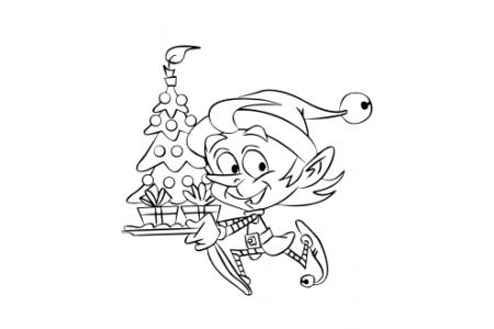 拿着圣诞树的圣诞精灵