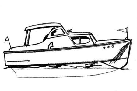 小游艇简笔画步骤