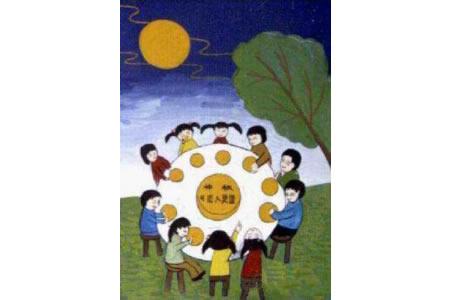 中秋节吃月饼儿童画-月下吃月饼