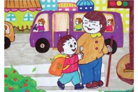 扶老奶奶过马路学雷锋日主题绘画