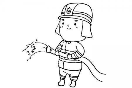 在训练的消防员