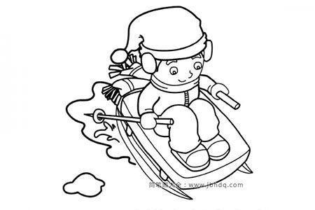 滑雪橇的小男孩简笔画图片