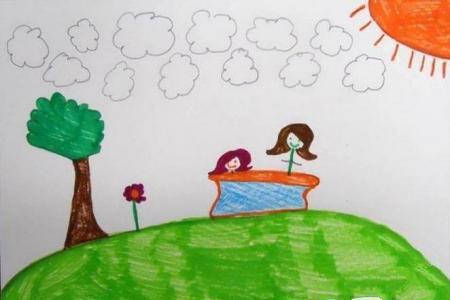 和妈妈一起去春游5岁小朋友绘画作品分享