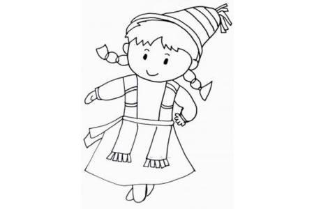 哈萨克族小女孩简笔画