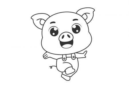 5张猪年卡通小猪形象简笔画