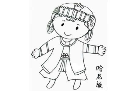 哈尼族小女孩简笔画图片