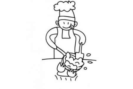 在炒菜的厨师简笔画
