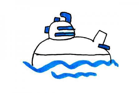 清新海洋风格潜水艇简笔画