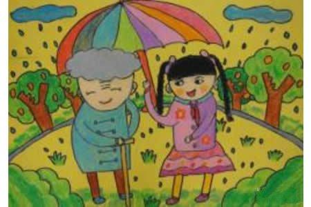 帮老奶奶打伞学雷锋主题画分享