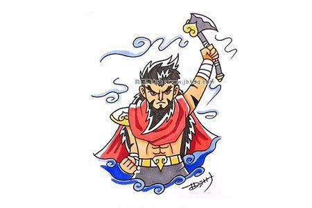 神话人物系列:盘古简笔画图片
