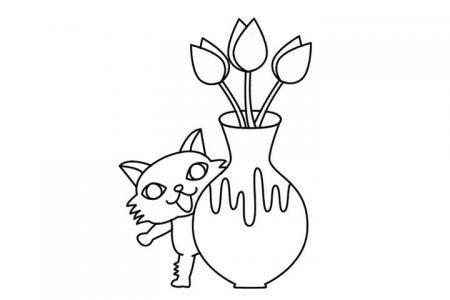 躲在花瓶后的小猫