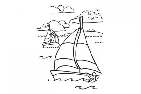 海上日出帆船风景填色图片