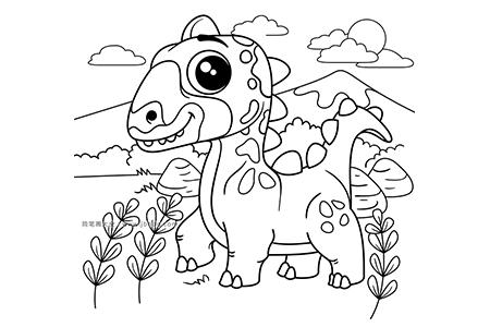 可爱的恐龙简笔画图片