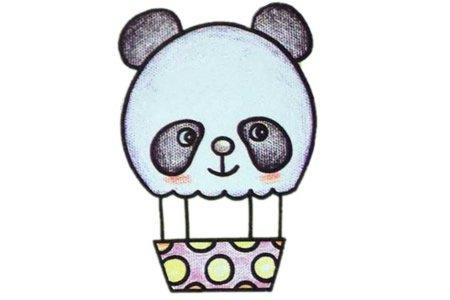 熊猫造型热气球简笔画教程