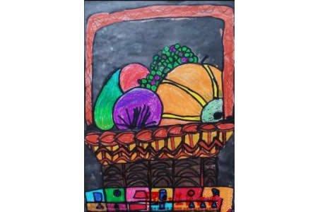 秋天的蔬菜蜡笔儿童画作品欣赏