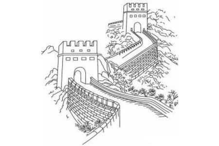 画长城的简笔画图片