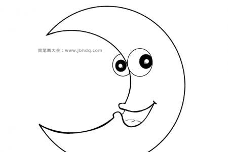 弯弯的月亮简笔画图片