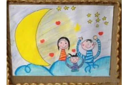 三八妇女节绘画大全-幸福的一家人