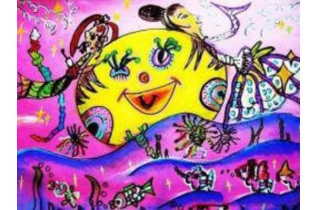 儿童画中秋节的画-我和嫦娥姐姐的美丽邂逅