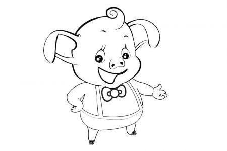 可爱的卡通小猪简笔画「带颜色」