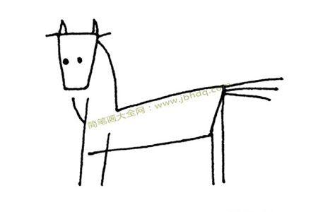 简单线条画马