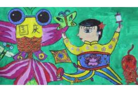 国庆放风筝,国庆节主题儿童画分享