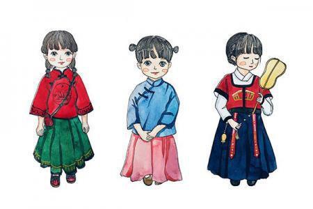 九位国风小女孩简笔画图片