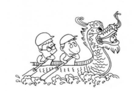 关于端午节划龙舟的简笔画图片
