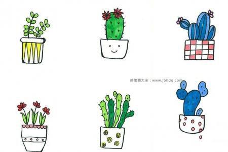 72个漂亮的盆栽彩色简笔画