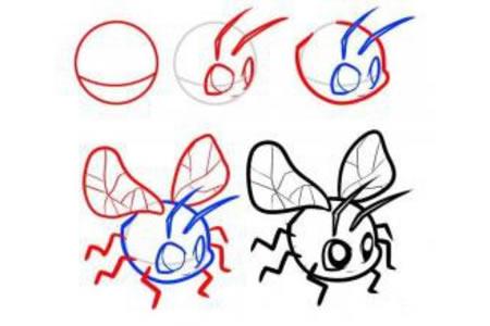 卡通蜻蜓简笔画步骤图