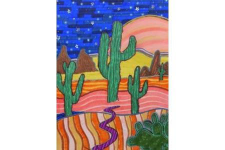 顽强的仙人掌沙漠仙人掌儿童画作品分享