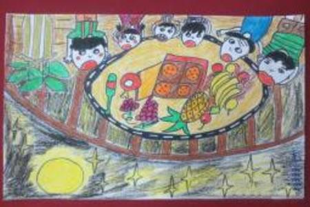 中秋节主题色彩儿童画欣赏-我们爱吃月饼
