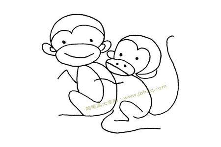 简单的两只猴子简笔画图片