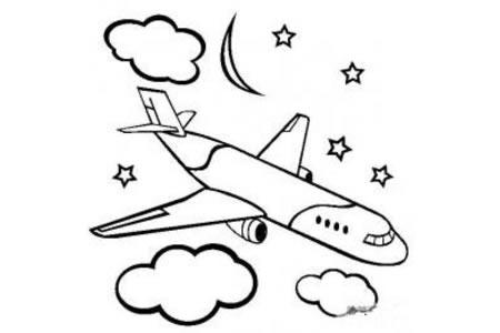 星空下的飞机简笔画图片
