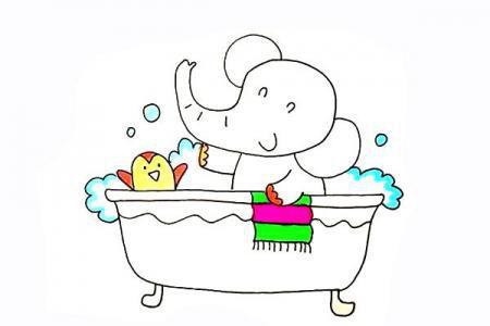 爱洗澡的小象简笔画教程